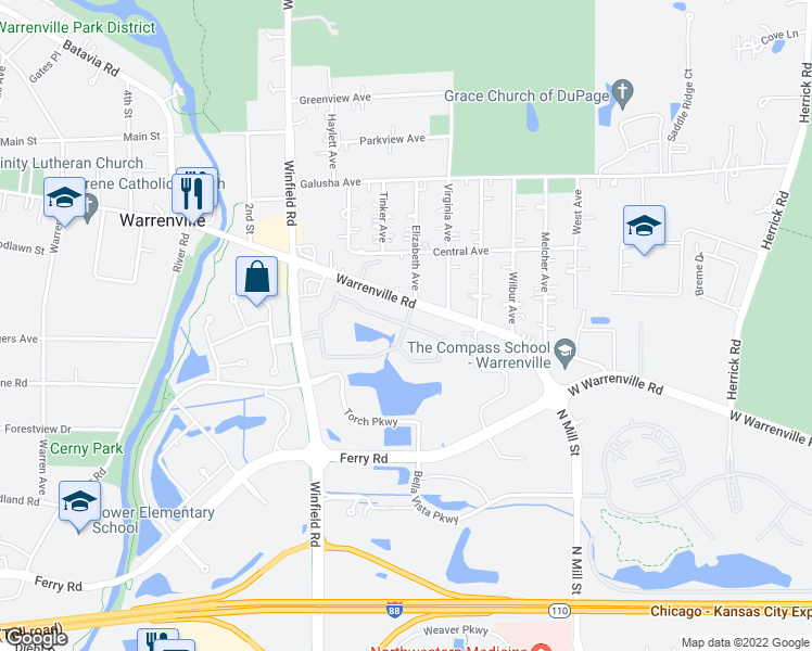 map of restaurants, bars, coffee shops, grocery stores, and more near 30005 Village Green Boulevard in Warrenville