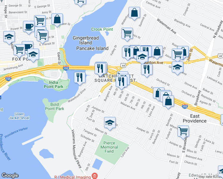 map of restaurants, bars, coffee shops, grocery stores, and more near 18 Burgess Avenue in East Providence
