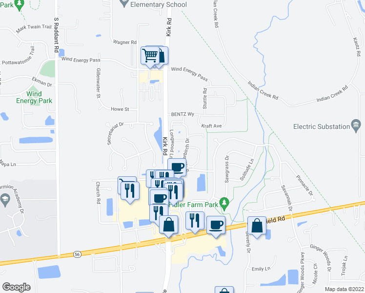 map of restaurants, bars, coffee shops, grocery stores, and more near 3055 Riverbirch Drive in Aurora
