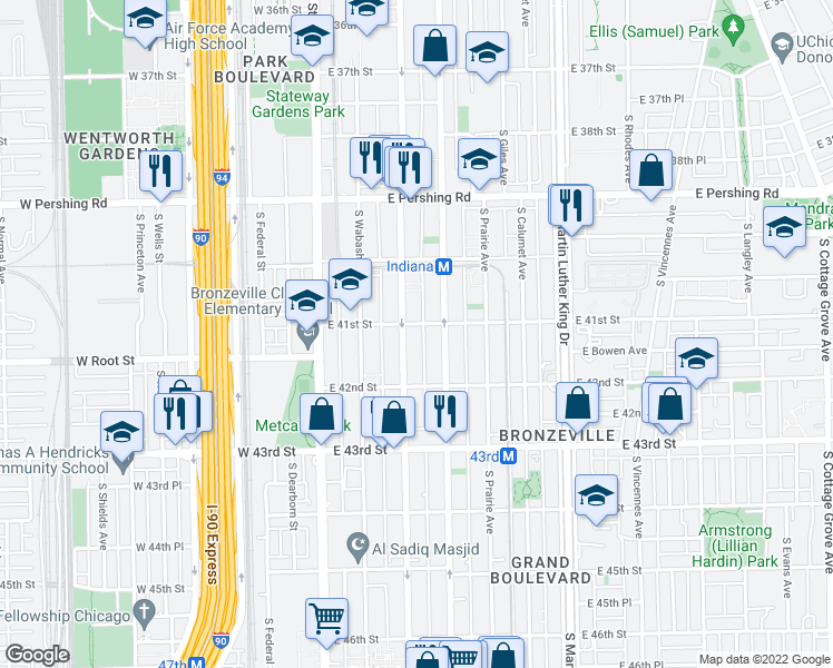 map of restaurants, bars, coffee shops, grocery stores, and more near 4101 South Michigan Avenue in Chicago