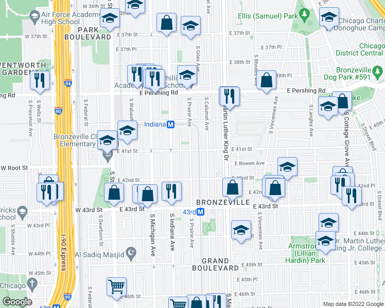 map of restaurants, bars, coffee shops, grocery stores, and more near 4101-4105 South Drexel Boulevard in Chicago