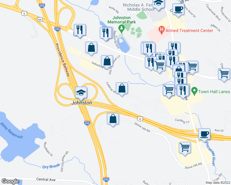 map of restaurants, bars, coffee shops, grocery stores, and more near 1-123 Federal Way in Johnston