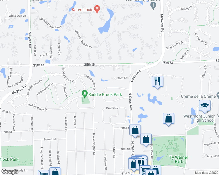map of restaurants, bars, coffee shops, grocery stores, and more near 201 West Oakley Drive Northwest in Westmont