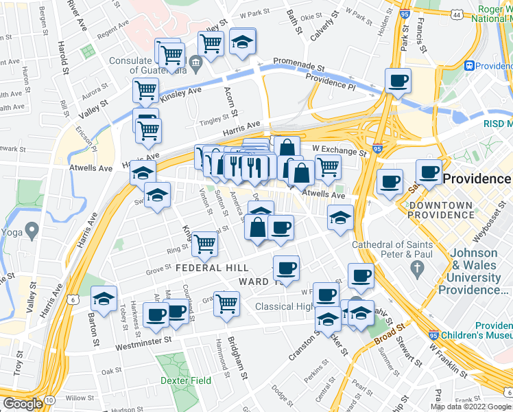 map of restaurants, bars, coffee shops, grocery stores, and more near 105 De Pasquale Avenue in Providence