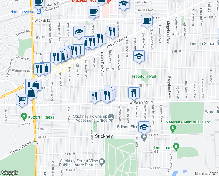 map of restaurants, bars, coffee shops, grocery stores, and more near 3804 Euclid Avenue in Berwyn