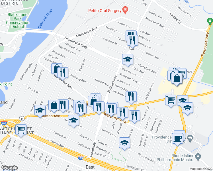 map of restaurants, bars, coffee shops, grocery stores, and more near 271 Central Avenue in East Providence