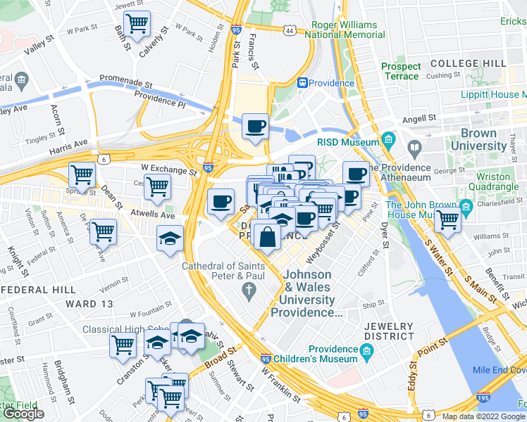 map of restaurants, bars, coffee shops, grocery stores, and more near 100 Fountain Street in Providence