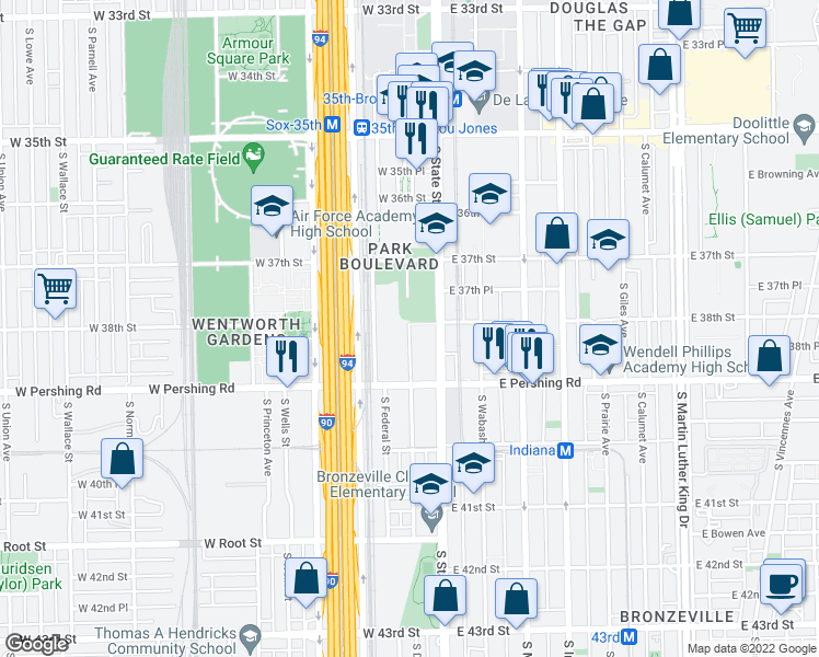 map of restaurants, bars, coffee shops, grocery stores, and more near 3750-3798 South State Street in Chicago