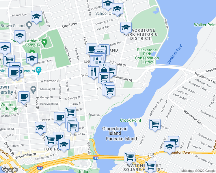 map of restaurants, bars, coffee shops, grocery stores, and more near 150 Pitman Street in Providence