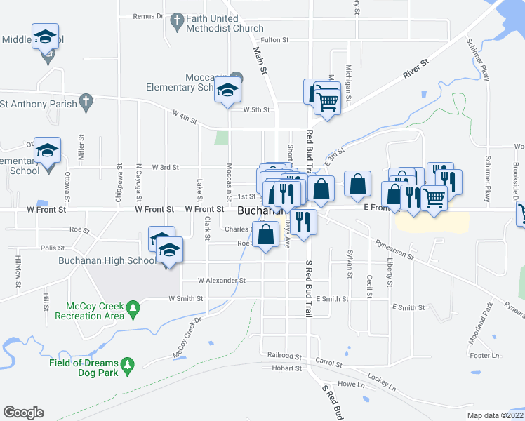 map of restaurants, bars, coffee shops, grocery stores, and more near in Buchanan