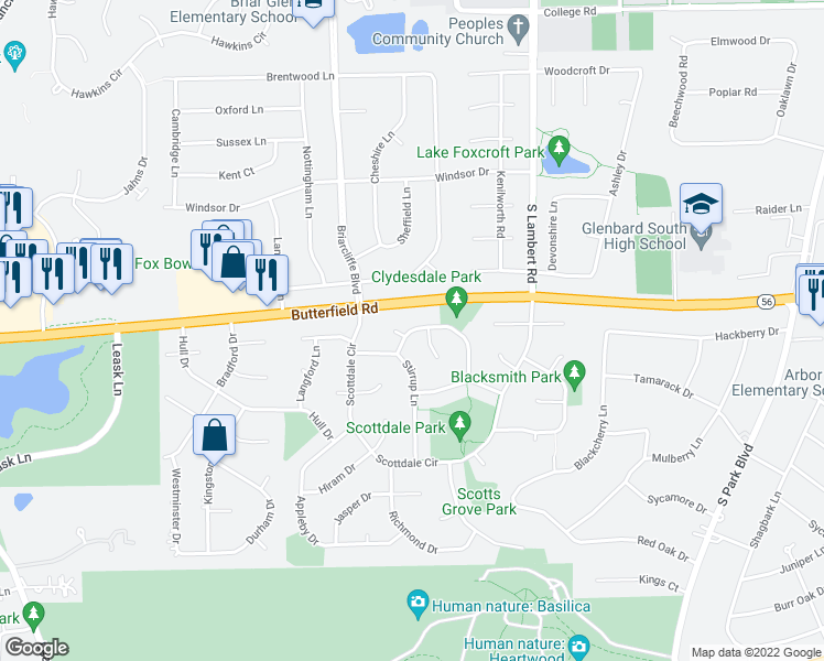 map of restaurants, bars, coffee shops, grocery stores, and more near 2131 Derby Court in Wheaton