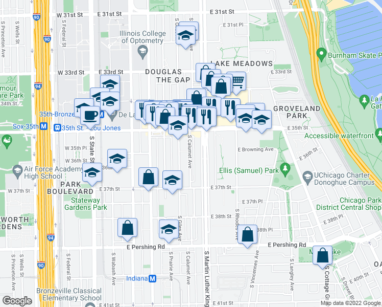 map of restaurants, bars, coffee shops, grocery stores, and more near 3551 S Calumet Ave in Chicago
