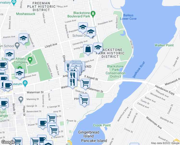 map of restaurants, bars, coffee shops, grocery stores, and more near 19 Moses Brown Street in Providence