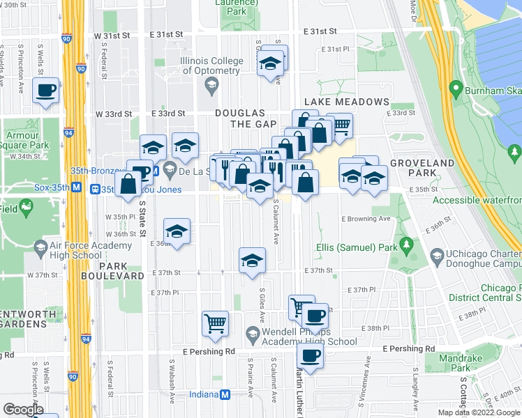 map of restaurants, bars, coffee shops, grocery stores, and more near 3518 South Giles Avenue in Chicago