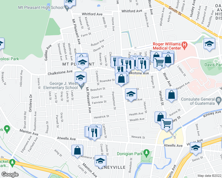map of restaurants, bars, coffee shops, grocery stores, and more near 38 Beaufort Street in Providence