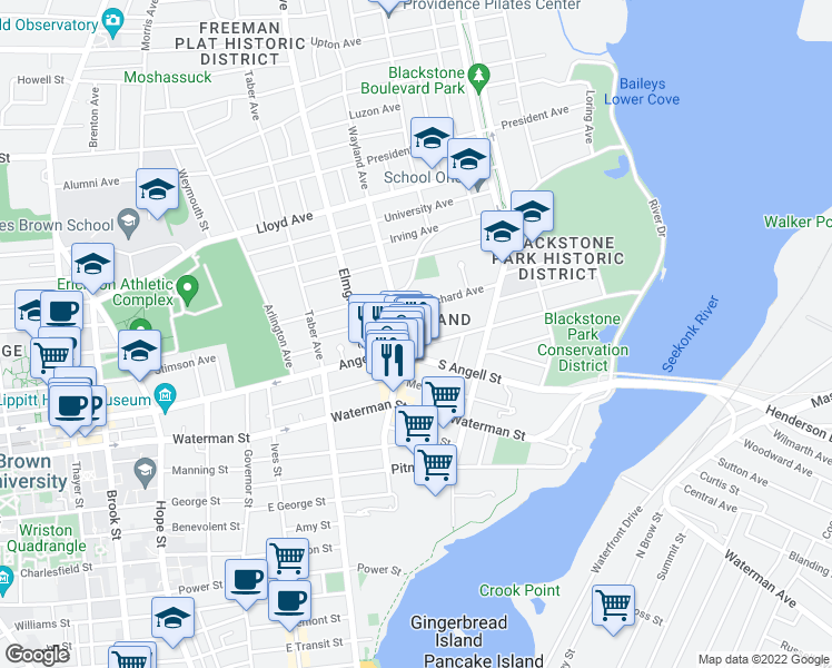 map of restaurants, bars, coffee shops, grocery stores, and more near 500 Angell Street in Providence