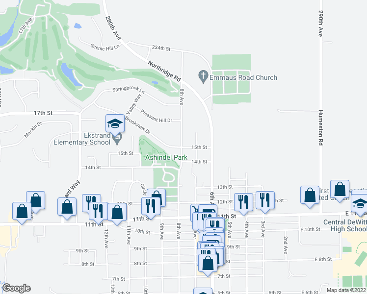 map of restaurants, bars, coffee shops, grocery stores, and more near 1414 8th Avenue in DeWitt