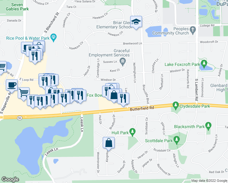 map of restaurants, bars, coffee shops, grocery stores, and more near 1144 Briarbrook Drive in Wheaton