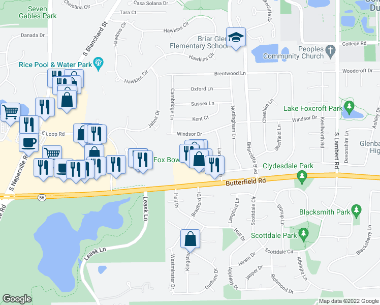 map of restaurants, bars, coffee shops, grocery stores, and more near 1147 Briarbrook Drive in Wheaton