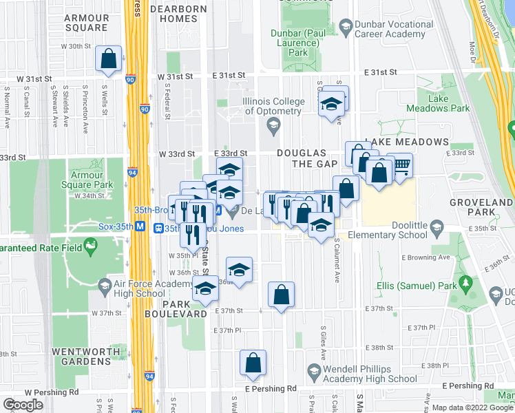 map of restaurants, bars, coffee shops, grocery stores, and more near 3439 South Wabash Avenue in Chicago