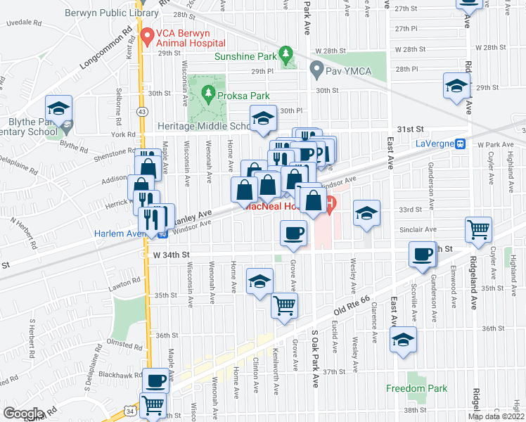 map of restaurants, bars, coffee shops, grocery stores, and more near 6910 Windsor Avenue in Berwyn