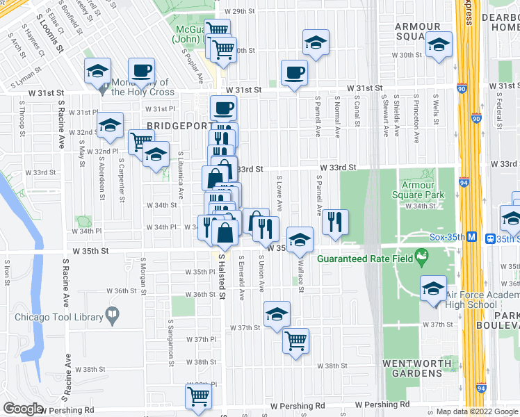 map of restaurants, bars, coffee shops, grocery stores, and more near S Union Ave & W 34th St in Chicago