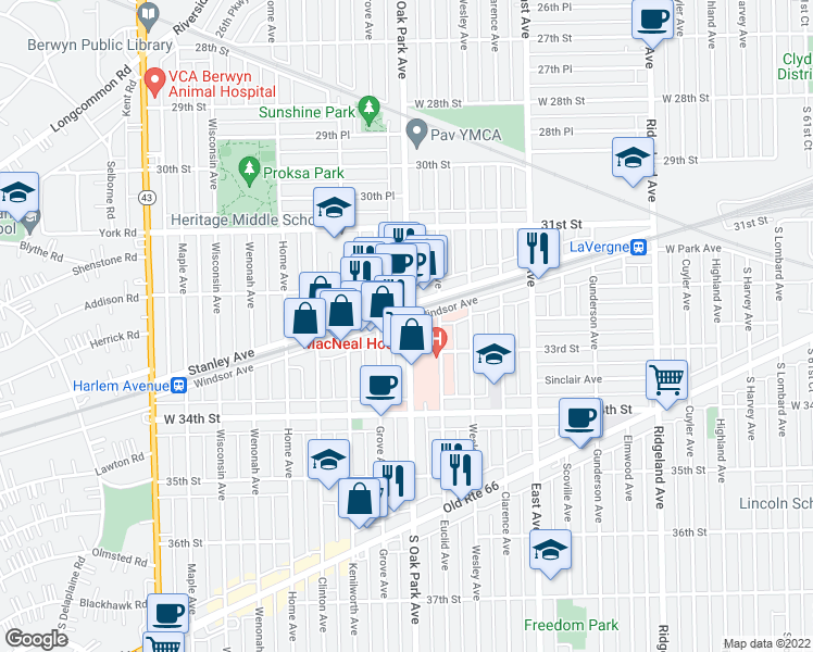 map of restaurants, bars, coffee shops, grocery stores, and more near 6800 Windsor Ave in Berwyn