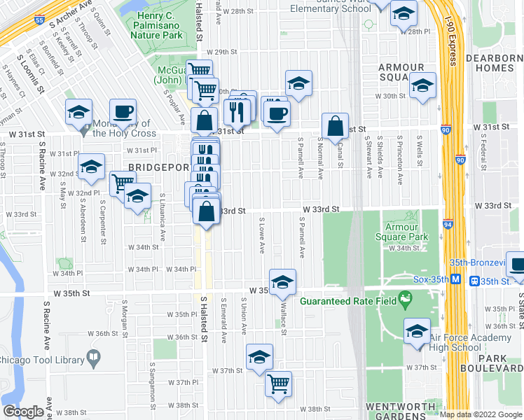 map of restaurants, bars, coffee shops, grocery stores, and more near S Lowe Ave & W 33rd St in Chicago