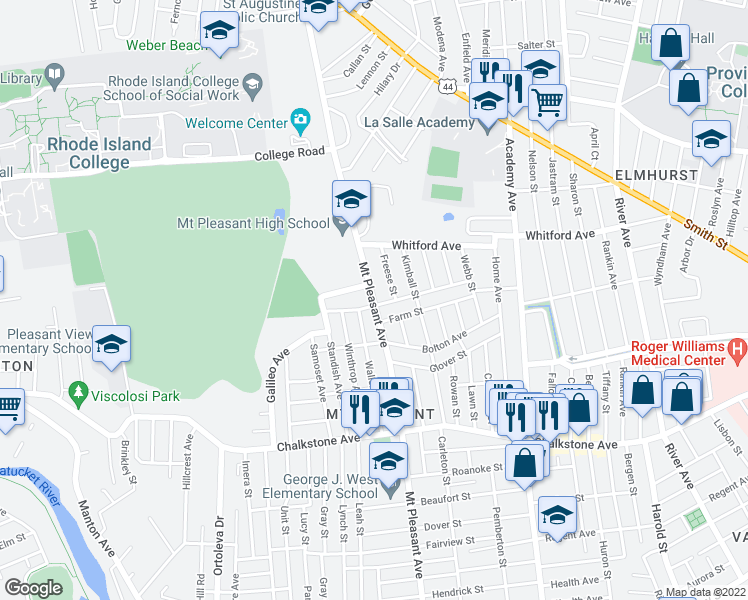 map of restaurants, bars, coffee shops, grocery stores, and more near 110 Metropolitan Road in Providence