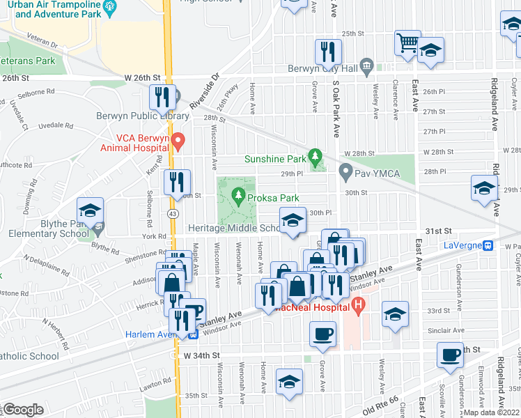 map of restaurants, bars, coffee shops, grocery stores, and more near 6957 30th Place in Berwyn