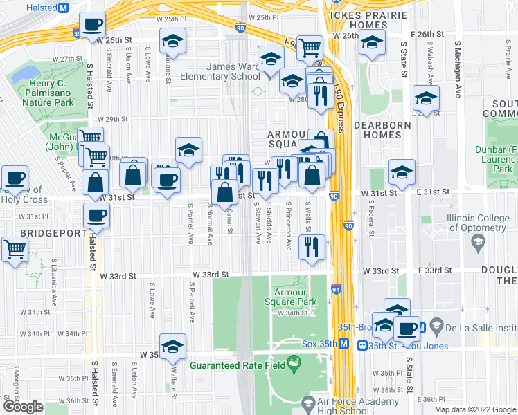 map of restaurants, bars, coffee shops, grocery stores, and more near 2 South Stewart Avenue in Chicago