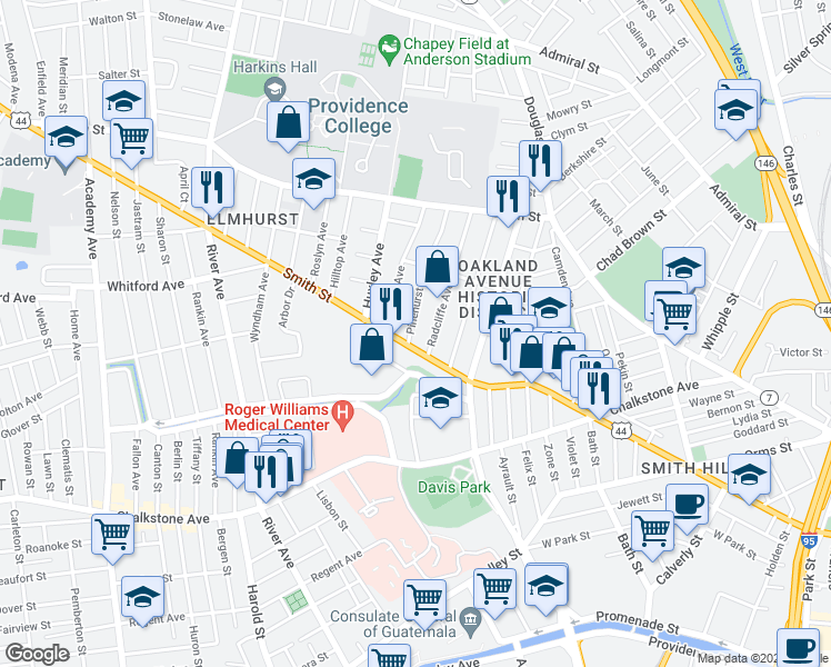 map of restaurants, bars, coffee shops, grocery stores, and more near 9 Pinehurst Avenue in Providence