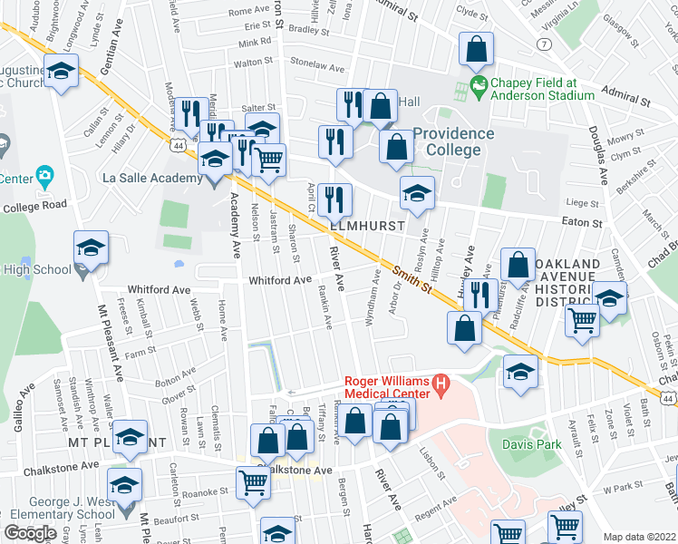 map of restaurants, bars, coffee shops, grocery stores, and more near River Avenue in Providence