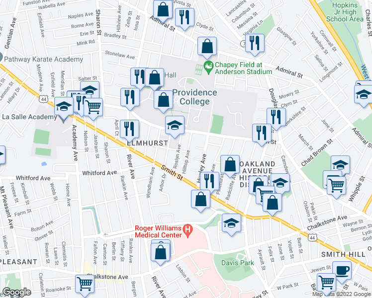 map of restaurants, bars, coffee shops, grocery stores, and more near 5 Fairoaks Avenue in Providence