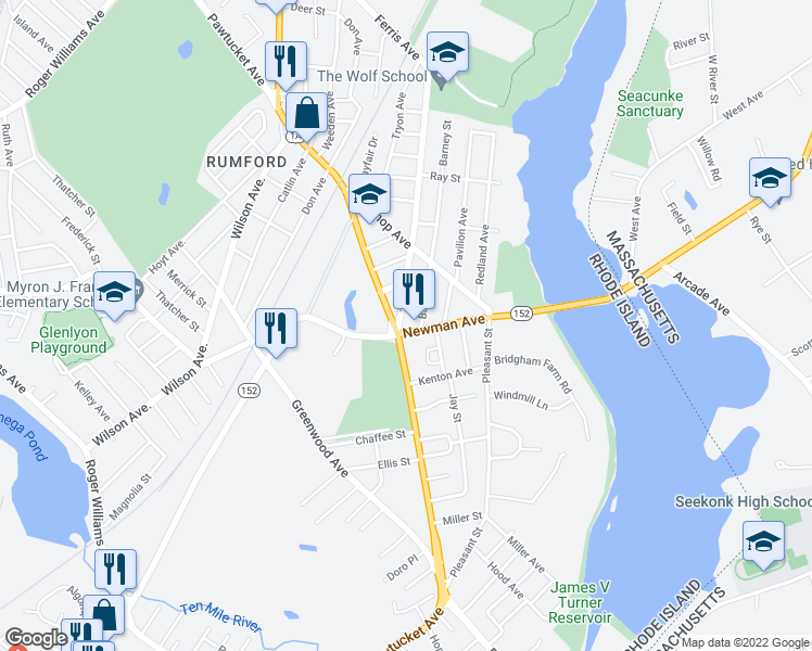 map of restaurants, bars, coffee shops, grocery stores, and more near 20 Newman Avenue in East Providence