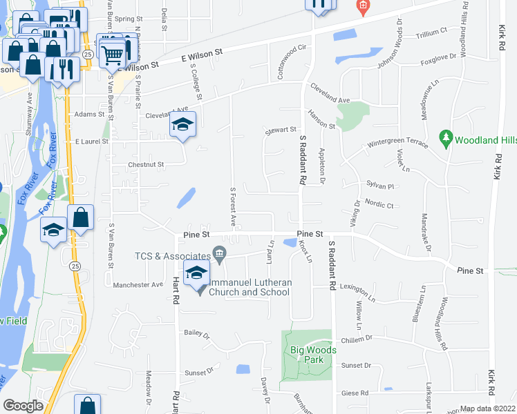 map of restaurants, bars, coffee shops, grocery stores, and more near 741 Mather Lane in Batavia