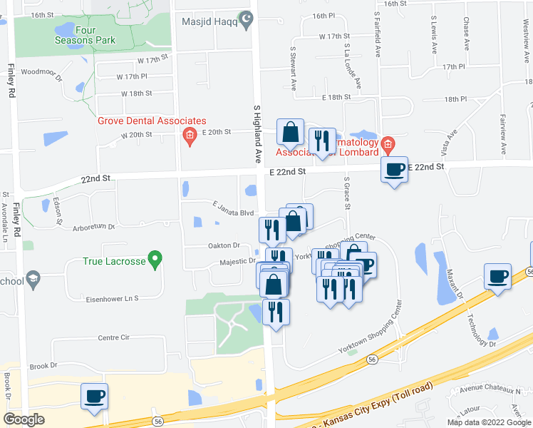 map of restaurants, bars, coffee shops, grocery stores, and more near Yorktown Mall Drive in Lombard