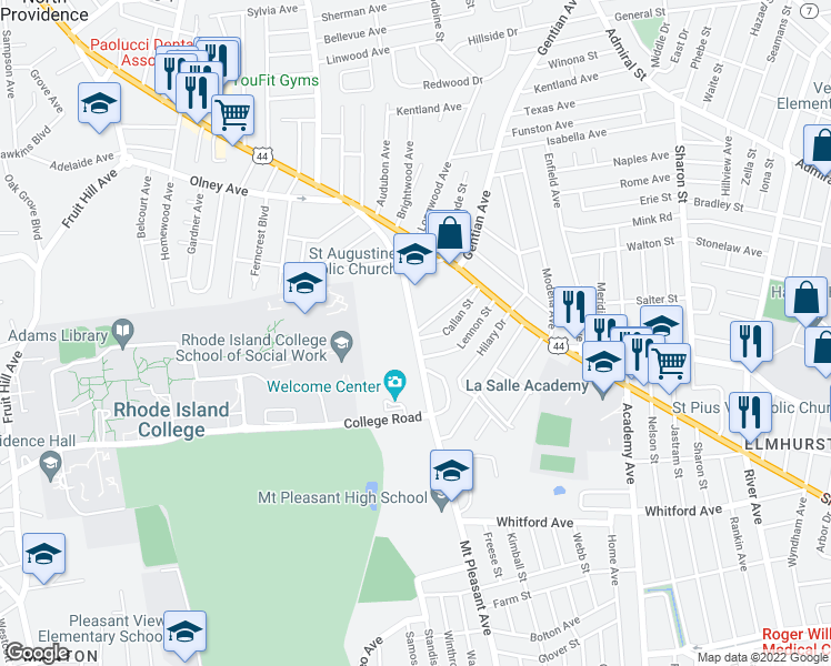 map of restaurants, bars, coffee shops, grocery stores, and more near Mt Pleasant Ave & Compton St in Providence
