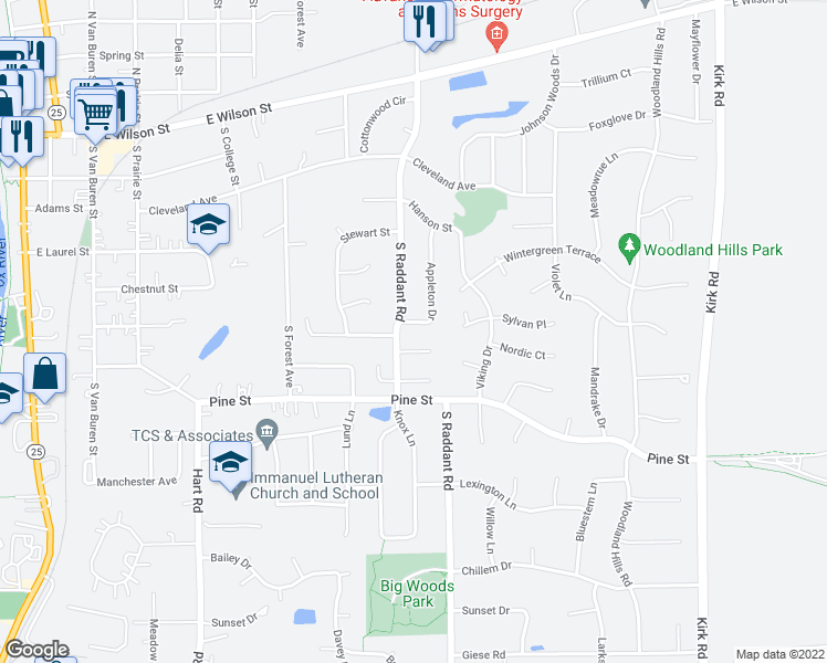 map of restaurants, bars, coffee shops, grocery stores, and more near 912 Appleton Drive in Batavia