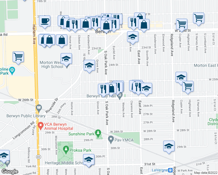 map of restaurants, bars, coffee shops, grocery stores, and more near 2519 Oak Park Avenue in Berwyn