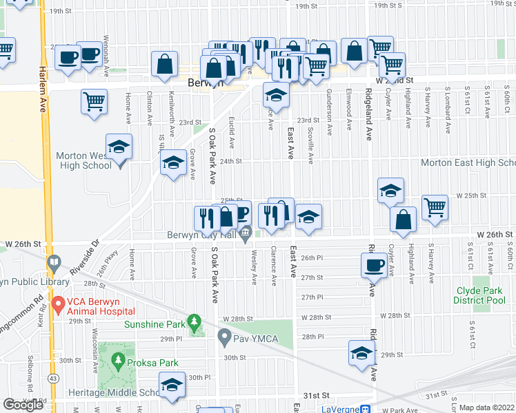map of restaurants, bars, coffee shops, grocery stores, and more near 2507 Wesley Avenue in Berwyn