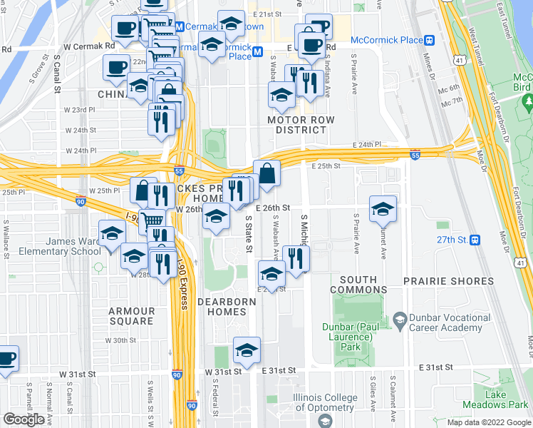 map of restaurants, bars, coffee shops, grocery stores, and more near 23 East 26th Street in Chicago