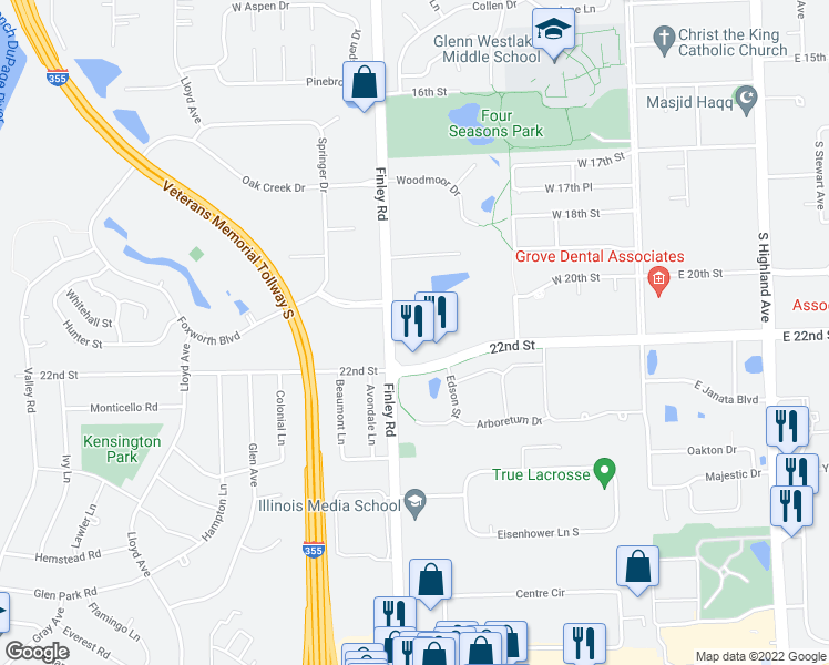 map of restaurants, bars, coffee shops, grocery stores, and more near 2101 South Finley Road in Lombard