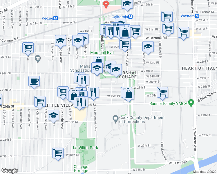 map of restaurants, bars, coffee shops, grocery stores, and more near 2908 West 25th Street in Chicago