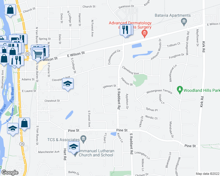 map of restaurants, bars, coffee shops, grocery stores, and more near 838 Stewart Street in Batavia