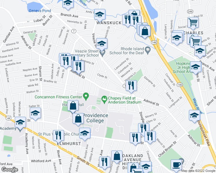 map of restaurants, bars, coffee shops, grocery stores, and more near 9 Eva Street in Providence