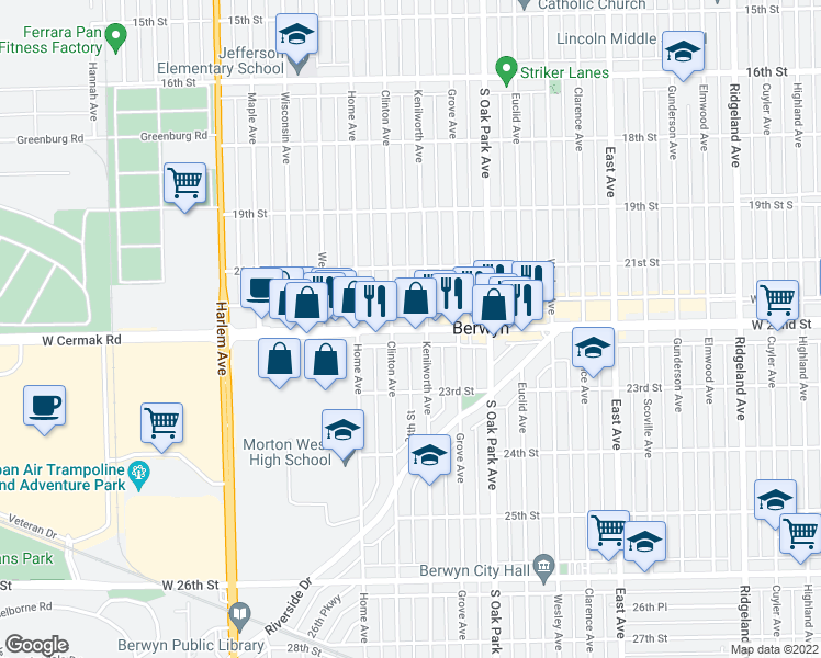 map of restaurants, bars, coffee shops, grocery stores, and more near 6910 Cermak Rd in Berwyn