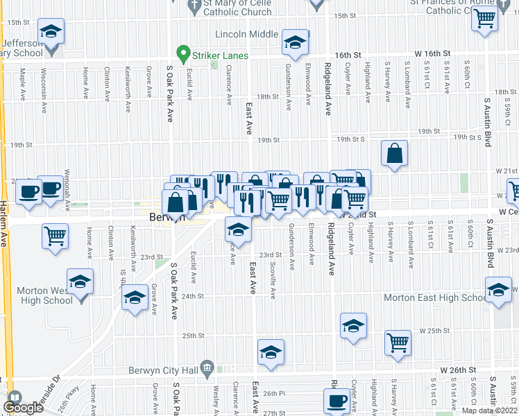 map of restaurants, bars, coffee shops, grocery stores, and more near 6544 Cermak Road in Berwyn