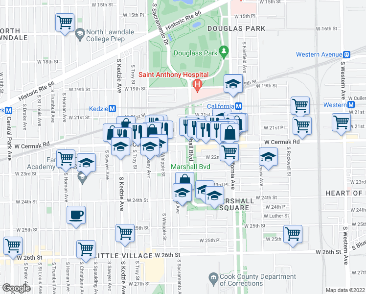 map of restaurants, bars, coffee shops, grocery stores, and more near 2909 West Cermak Road in Chicago