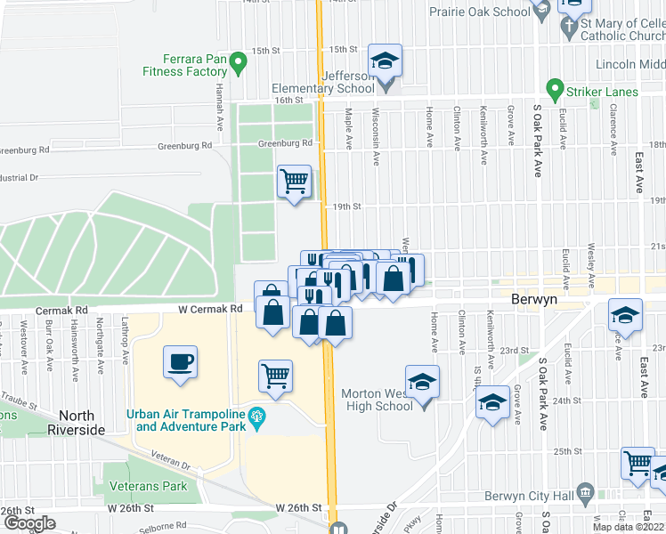 map of restaurants, bars, coffee shops, grocery stores, and more near 2111 South Harlem Avenue in Berwyn